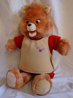 Teddy Ruxpin was a bear who told stories to kids whose parents were out partying in the and couldn't be bothered to tuck their kids i. 90s Childhood, My Childhood Memories, Best Memories, Teddy Ruxpin, Teddy Bear, Retro Toys, Vintage Toys, Vintage Fabrics, 1980s Kids