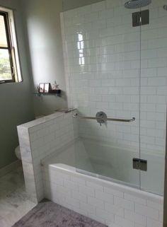 43 amazing bathrooms with half walls bathroom bathroom tub s Upstairs Bathrooms, Dream Bathrooms, Amazing Bathrooms, Small Bathrooms, Luxury Bathrooms, Master Bathrooms, Bathrooms Decor, Marble Bathrooms, Bathroom Layout