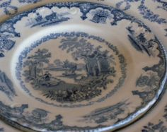 vintage oriental plate japan england anchor marking | One Antique Ironstone Wedgwood Gros venor Blue Swag Small Serving Bowl ...