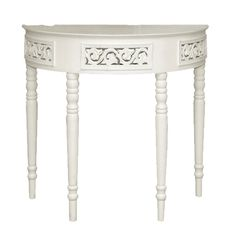 Isabelle French White Half Moon Console Table [BD BB208] : Beau Decor