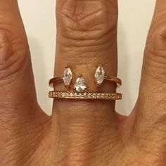 Rose Gold Plated Over Sterling Silver CZ Ring set, Wedding Ring, Promise Ring, Pinky Ring, Index Ring, Thumb Ring by IndigoandJade on Etsy