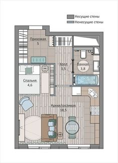 Apartment Design Compact Ideas For 2020 Dream House Plans, Small House Plans, House Floor Plans, Lofts, Tiny Apartments, Studio Apartments, Residential Architecture, Interior Architecture, Small Apartment Plans