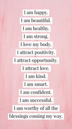 Say goodbye to negative self-talk and focus on positive thinking. Repeat this list of positive affirmations as many times a day as you want. Positive thoughts lead to positive changes. Positive Self Affirmations, Positive Affirmations Quotes, Affirmation Quotes, Affirmations For Women, Morning Affirmations, Positive Vibes Quotes, Positive Quotes For Women, Positive Change Quotes, Prosperity Affirmations