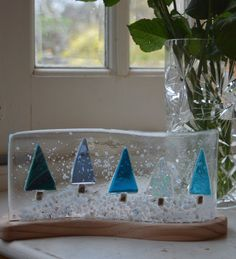 Christmans Tree Fused Glass Panel with Stand by AmandaPullinGlass                                                                                                                                                     More