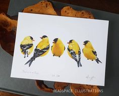 Finches in a Pinch art print by Headspace Illustrations. https://www.etsy.com/ca/listing/581353768/finches-golden-american-goldfinch-yellow