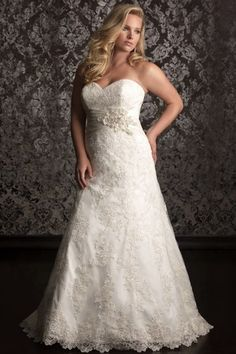 Ivory A-line Strapless Court Train Lace Fabric Plus Size Wedding Dresses With Appliques Beading Style pw50606