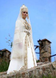Karachay and Balkars – Turkik people of the Caucasus Traditional Wedding, Traditional Dresses, Folk Costume, Costumes, Peter The Great, Bridal Gowns, Wedding Dresses, Portraits, Shades Of White