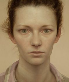 Artist: Lu Cong, b. 1978, oil on panel; Denver {contemporary figurative artist female head large eyes woman face portrait painting}
