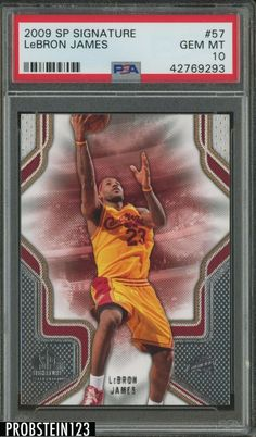 2009 SP Signature #57 Lebron James Cleveland Cavaliers PSA 10 POP 1 #LeBronJames #PSA10 #sportscards Lebron James Rookie Card, Lebron James Cleveland, Basketball Cards, Upper Deck, Michael Jordan, Cavalier, Pop, Game, Popular