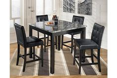 """The Maysville Counter Height Dining Room Table with (4) 24"""" Barstools from Ashley Furniture HomeStore (AFHS.com). With the rich black finished legs supporting the gray tones of the polyurethane coated print marble table top, the sleek contemporary design of the """"Maysville"""" dining collection creates comfortable dining with the stylish look of the black faux leather button-tufted upholstered seating."""