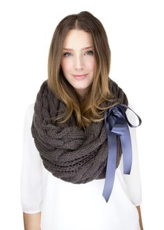 CHUNKY BROWN KNIT scarf cable knit infinity scarf by gertiebaxter, $44.50