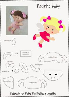 Disclosure of felt templates, tutorials, ideas and inspirations! Felt Fabric, Fabric Dolls, Paper Dolls, Felt Patterns, Stuffed Toys Patterns, Felt Angel, Felt Templates, Felt Baby, Felt Toys