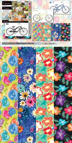 Theme: Picnic in wine country Floral prints for bicycles