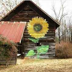 Sunflower painted on the side of a barn! Country Barns, Country Living, Country Life, Country Charm, Country Style, Country Bumpkin, Country Roads, Barn Art, Barns Sheds