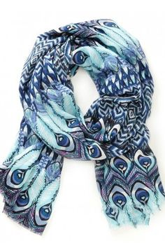 Blue Peacock Print Scarf