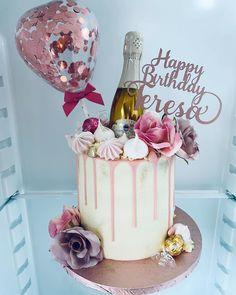 Prosecco & balloon cake for Teresa. 30th Birthday Cake For Women, Birthday Drip Cake, 25th Birthday Cakes, Creative Birthday Cakes, Beautiful Birthday Cakes, Adult Birthday Cakes, Prosecco Cake, 18th Cake, Balloon Cake