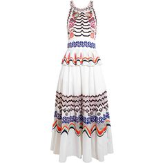 Temperley London Temperley London - Spellbound Embroidered... (5.355 RON) ❤ liked on Polyvore featuring dresses, white embroidered dress, white open back dress, white loose dress, loose dresses and embroidered dress