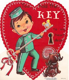 """""""You hold the key to my Heart Dear"""" vintage Valentine with a young bellhop."""