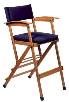 Hollywood Chairs by Totally Bamboo 32-Inch Tall Elm Director Chair, Navy
