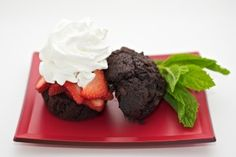 We call this treat the Florida Strawberry Midnight Shortcake. Instead of biscuits we use jumbo chocolate cupcakes and let me tell you, it's delicious!