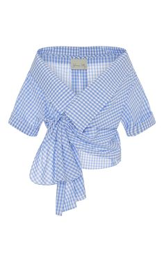 Shop for Johanna Ortiz Cotton Gingham Daffodil Wrap Top at ShopStyle. Blue Gingham Shirts, Blue Checkered Shirt, Wrap Shirt, Shirt Cuff, Mode Top, Blue Tops, Womens Fashion, Fashion Fashion, Runway Fashion