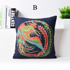 Colorful dragon decorative pillows for couch Chinese style phoenix sofa cushions