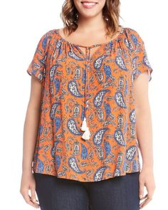 Karen Kane Plus Short Sleeve Paisley Peasant Top