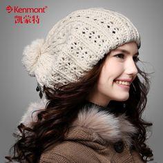 Kenmont encepados invierno sombreros invierno chicas tejer a sombrero gorra y Coreano versión flujos boina mujeres lana 1149