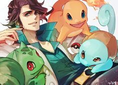 Professor Sycamore, Squirtle, Bulbasaur & Charmander