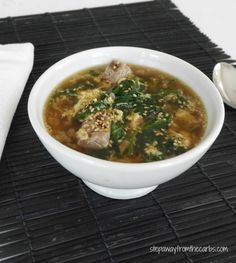 Low Carb Asian Beef and Spinach Soup - a fantastic healthy soup for lunch or as an appetizer
