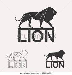 Lion logo set. Lion geometric lines silhouette isolated on white background vintage vector design element set