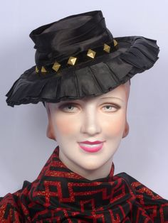 1940s New York Creation Black Satin Tilt Hat  Available at My Vintage Clothes Line on Ruby Lane.