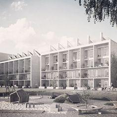 Instagram media by joliark - Rendering of Stora Sjöfallet 2 in Norra Djurgårdsstaden for Victor Hanson. #concrete #architecture #victorhanson #djurgårdsstaden #joliark