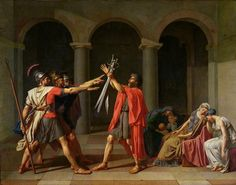 David's Oath of the Horatii (1784). Neoclassicism-- challenge to Rococo. Republican virtues. David was also a painter for Napoleon.