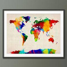 World Map Painting, World Map Art, World Map Poster, World Map Canvas, Painting Art, Map Posters, Art Paintings, Sponge Painting, Paint Splash