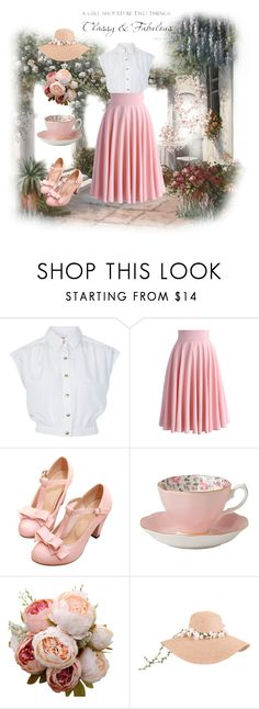 """""""Garden Tea Party"""" by hanboggs ❤ liked on Polyvore featuring Miss Selfridge, Chicwish and Royal Albert"""