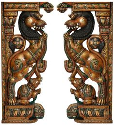Pair of Yali Brackets, Wood South Indian Temple Wood Carving Wooden Brackets, Wall Brackets, Pillar Design, Ganesh Statue, Pooja Room Design, Wood Carving Designs, Temple Design, Wooden Door Design, Tanjore Painting