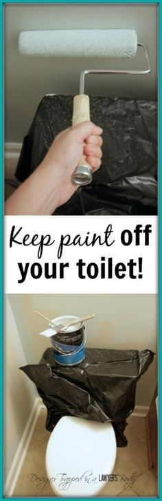 GENIUS! Tip for painting around a toilet by Designer Trapped in a Lawyer's Body. #paintingtips http://designertrapped.com/2014/07/tip-for-painting-around-a-toilet.html