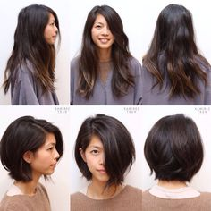 Avant-Apres : long hair to bob cut haircut before and after hair makeover Medium Hair Cuts, Long Hair Cuts, Medium Hair Styles, Short Hair Styles, Straight Hair, Cut My Hair, Big Hair, Before And After Haircut, Long To Short Hair