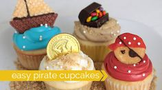 these adorable pirate cupcakes are easy to decorate, and the best part is they use normal frosting instead of yucky fondant! click through for all 4 versions.