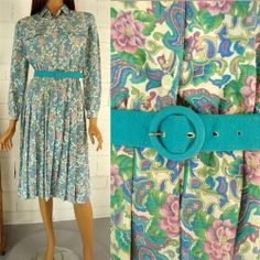 Vintage 80s Turquoise Teal Shirt Waist Dress Pleated Paisley Belt size 6
