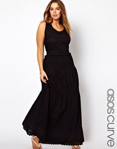 ASOS CURVE Exclusive Maxi Dress With Crochet Frill Hem, $83.13  Plus size dress by ASOS CURVE  -	Made from 100% pure cotton  -	Round neckline  -	Fitted waist  -	Crochet design detailing to waist and skirt  -	Maxi length  -	Regular fit