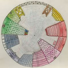 Objective: Students will create a color wheel using one point perspective, accurate color placement and value CA Art Standards. Circle Drawing, Circle Art, Perspective 1 Point, Perspective Drawing, Color Wheel Projects, Art Projects, 7th Grade Art, Grade 3, Elements Of Art Color