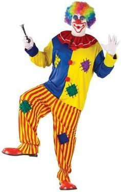 "The ultimate clown suit! Colorful pullover top with pom-poms, baggy stripe pants and collar. Fits up to 6'2""""/300 lbs."