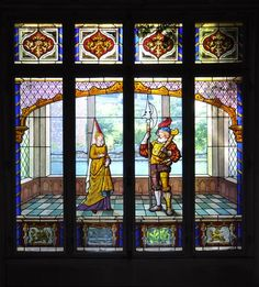 Large stained glass window Neo-Renaissance style representing a couple of Squires - Reference 2250