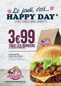 Le Jeudi, c'est happy day chez Greg and Jerry's #gregandjerrys #burger #livraison #lyon