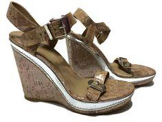Stuart Weitzman Beige Twofer Silver Cork Wedge Sandal 8 Shoe New #StuartWeitzman #PlatformsWedges #Casual