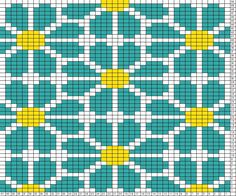 Tricksy Knitter Charts: daisy repeat ( knit ) by twisty Tapestry Crochet Patterns, Bead Loom Patterns, Weaving Patterns, Cross Stitch Patterns, Knitting Charts, Knitting Stitches, Knitting Patterns, Pixel Crochet, Crochet Chart