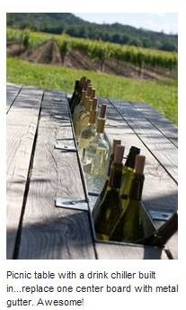picnic table... replace part of center board with metal gutter for a built in cooler