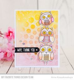 For Owl You Dostamp set. I made an owl tower on my card. I stamped, colored withTombow Dual Brush pens and die cut three owls. I used pink, orange and yellow colors for this card.For the background I used the same colors, but also I appliedCircle Burststencil and after sponging sprinkled everything with the water to get the spots and more texture. The edges are cut off with my favoriteWonky Stitched Rectangle.@akossakovskaya #cardmaking #mftstamps